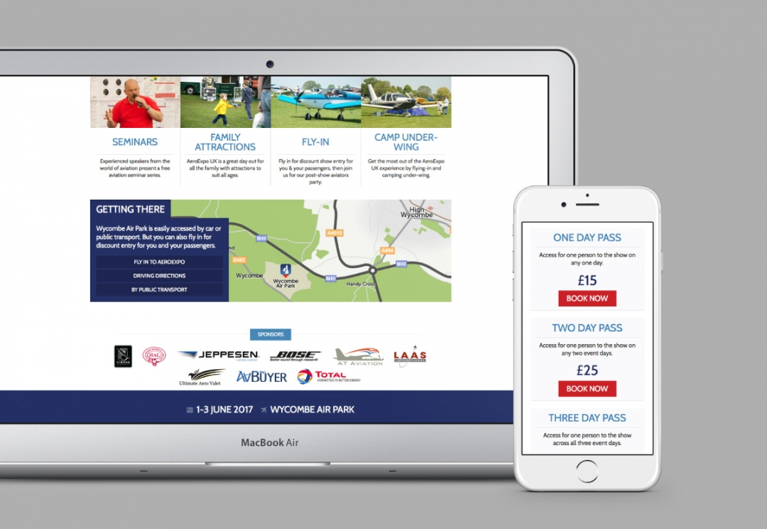 Aviation event responsive website design