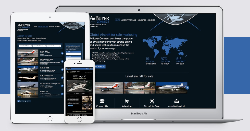 Aircraft email marketing and website design