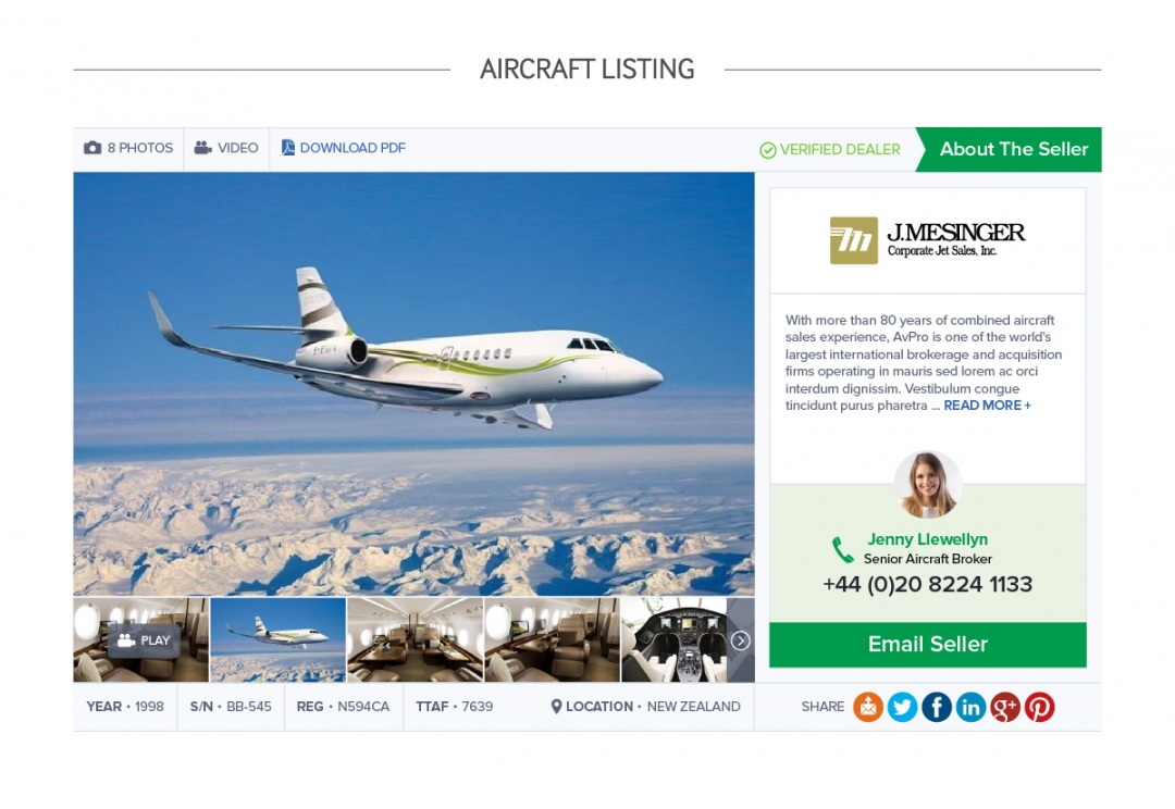 Aircraft sales website design