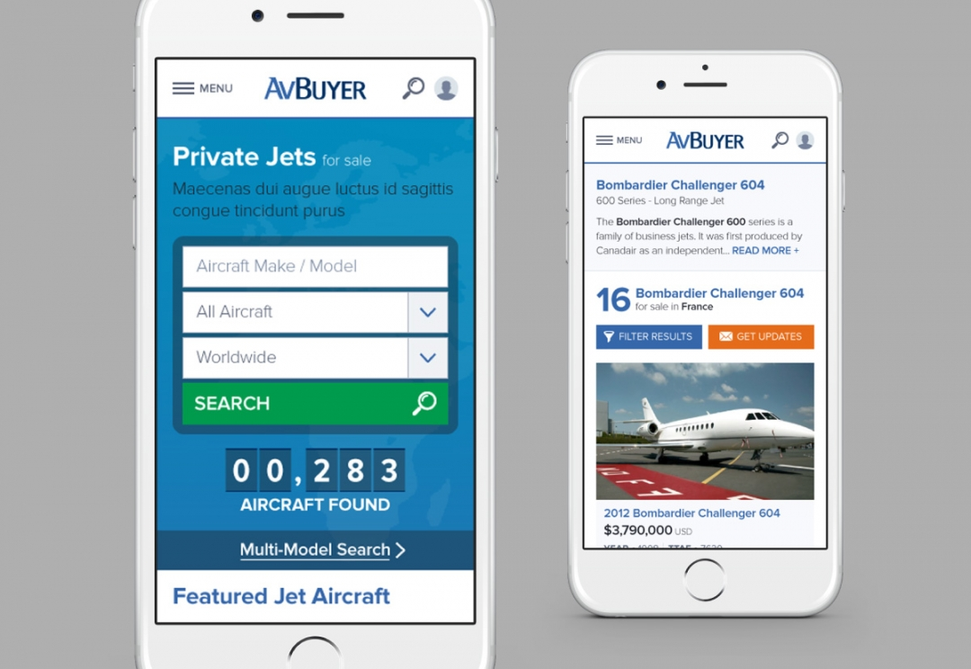 Aircraft sales responsive website design