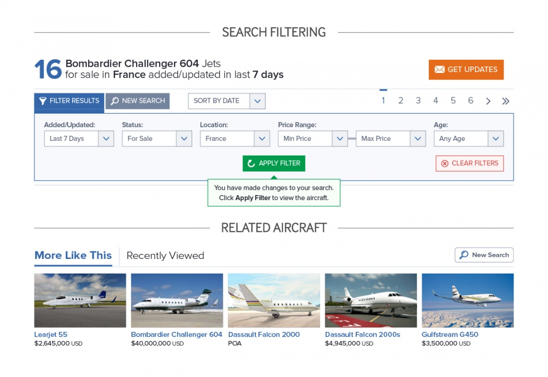 Aircraft search filtering controls
