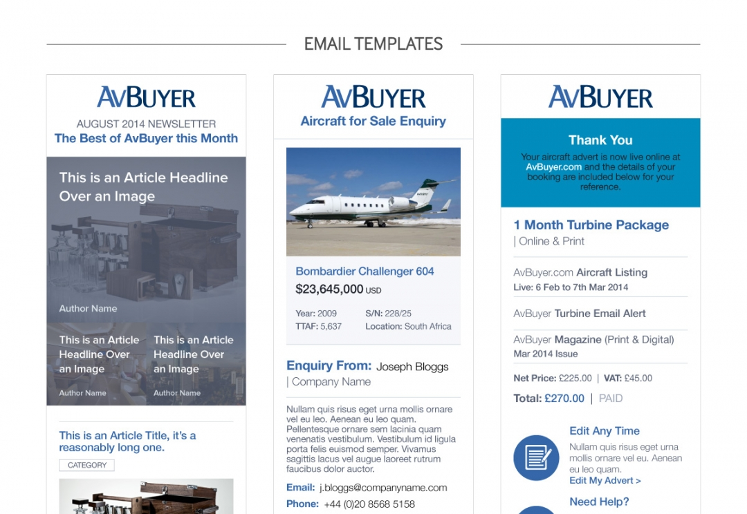 Aircraft sales mobile email templates