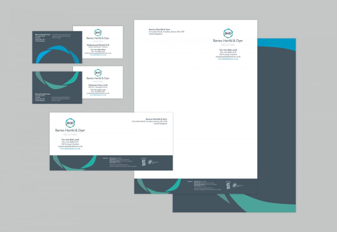 Solicitors letterhead and business card design