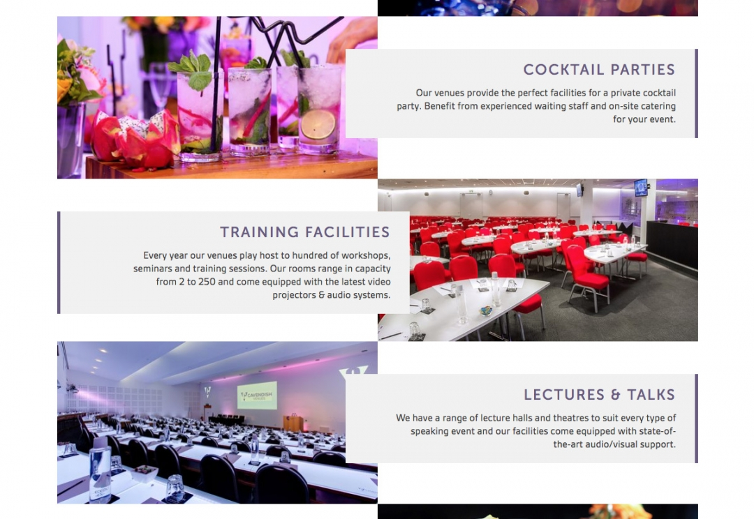 Conference venues website design