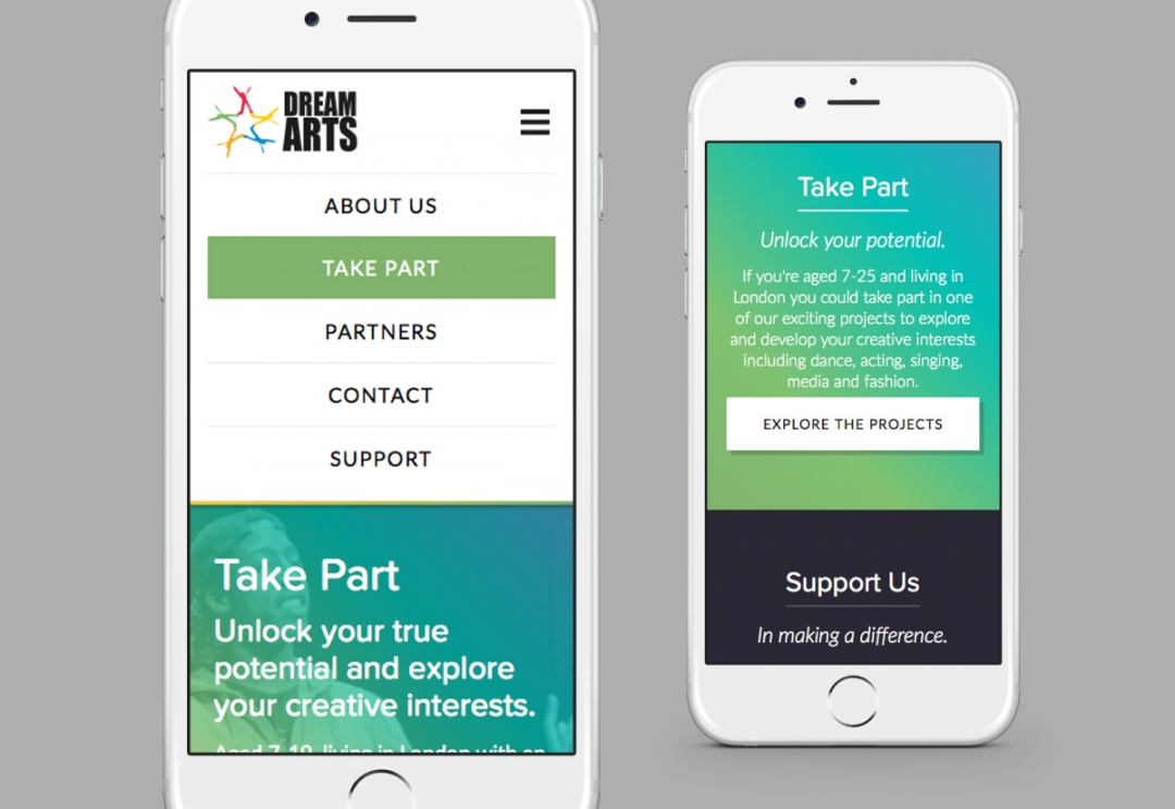 Youth arts organisation responsive website design