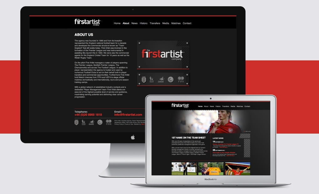Sports Management agency website design