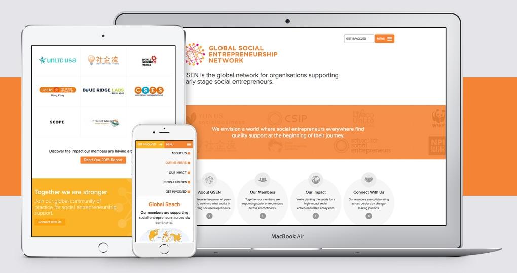 Social entrepreneurship network responsive website design