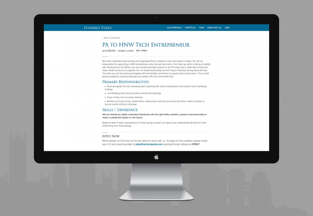 Investment company website design