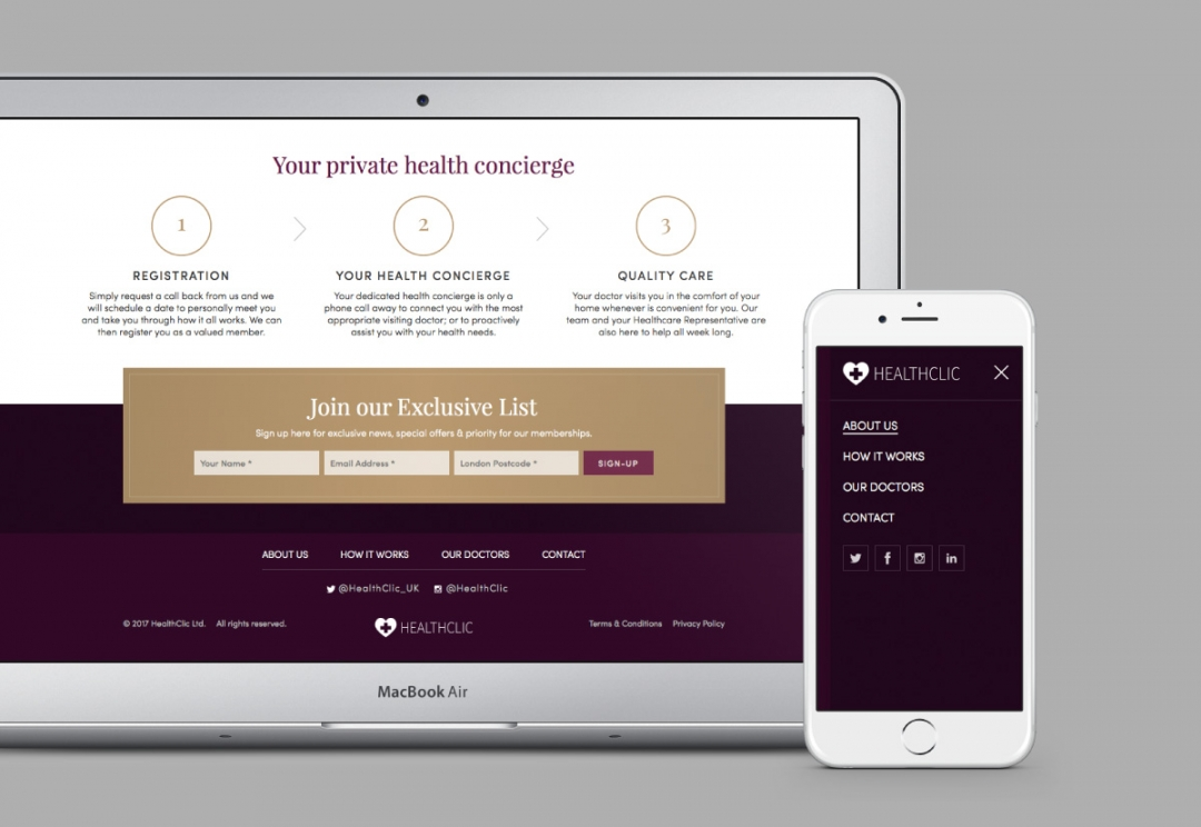 Private healthcare responsive website design