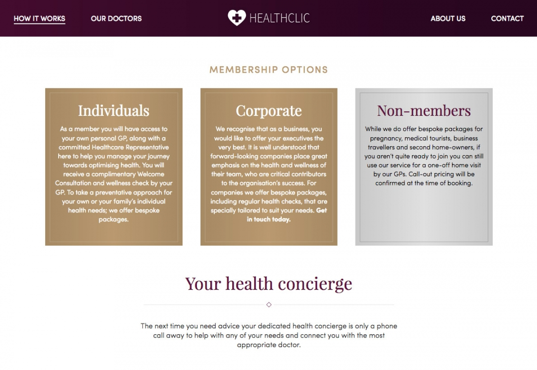 Private healthcare website design