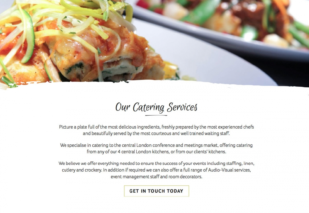 Catering company website design