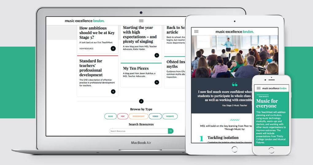 Music education responsive website design