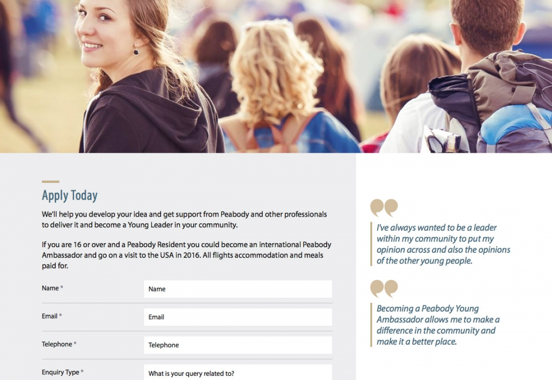 Youth engagement website design