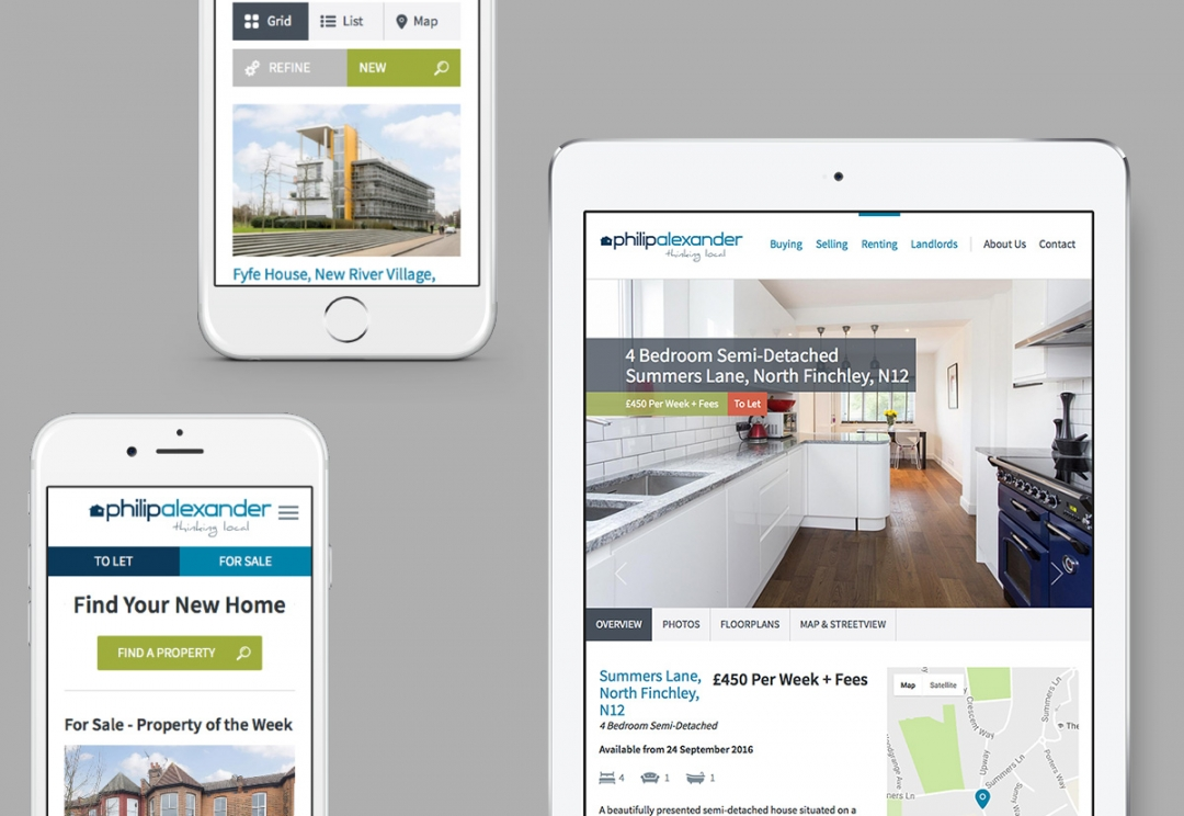 Estate agent responsive website design