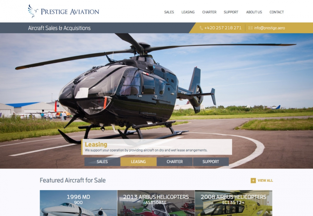 Aircraft sales, charter and leasing website design