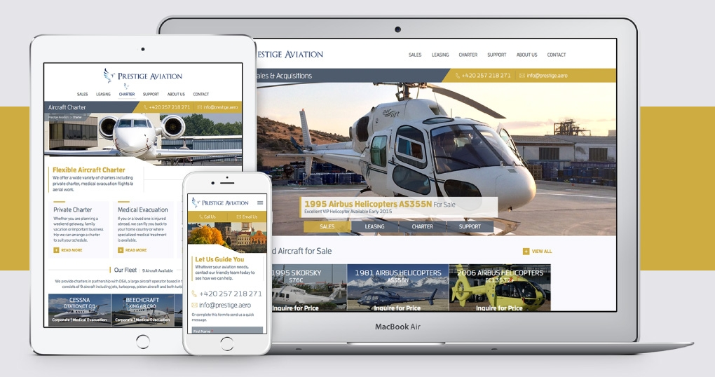 Aircraft sales, charter and leasing responsive website design