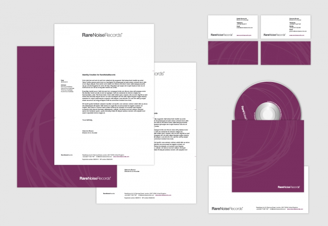 Record label stationery design