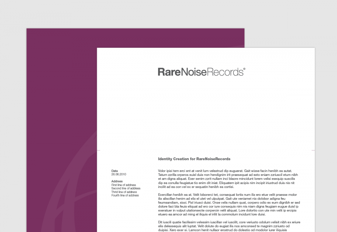 Record label letterhead design