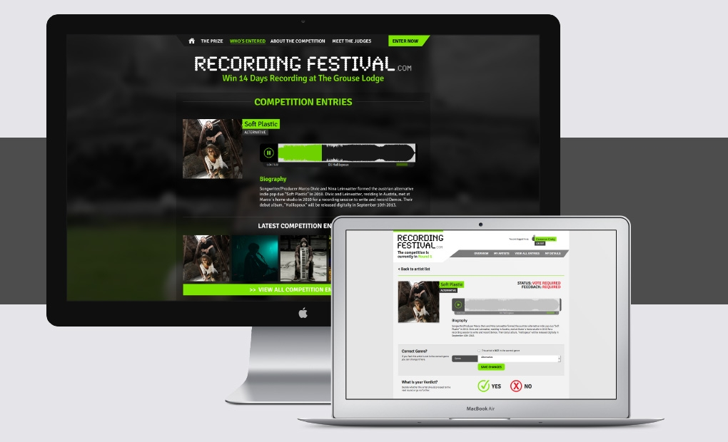 Music competition website design and development