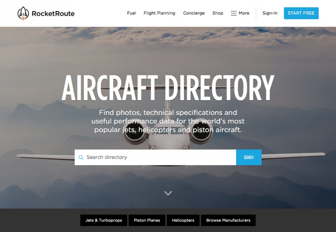 RocketRoute - aircraft directory