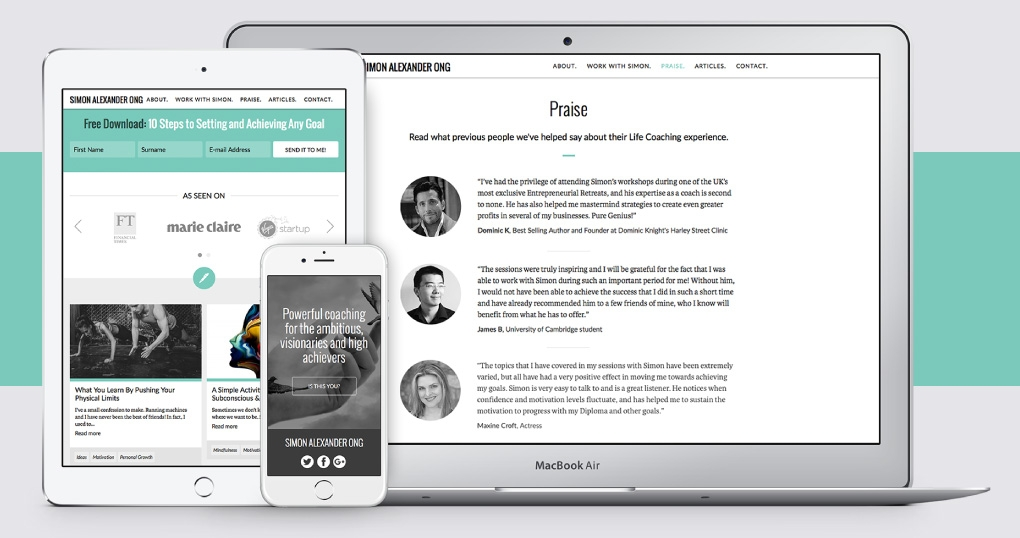 Life coach responsive website design