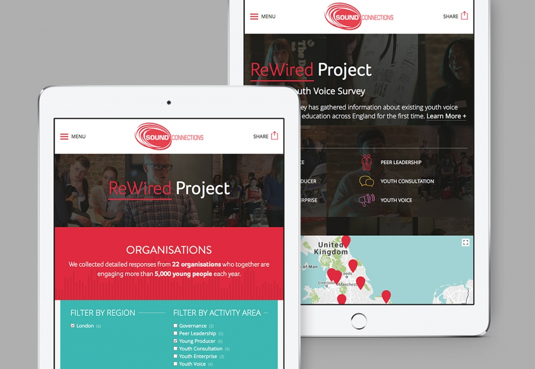 Music organisation charity website design