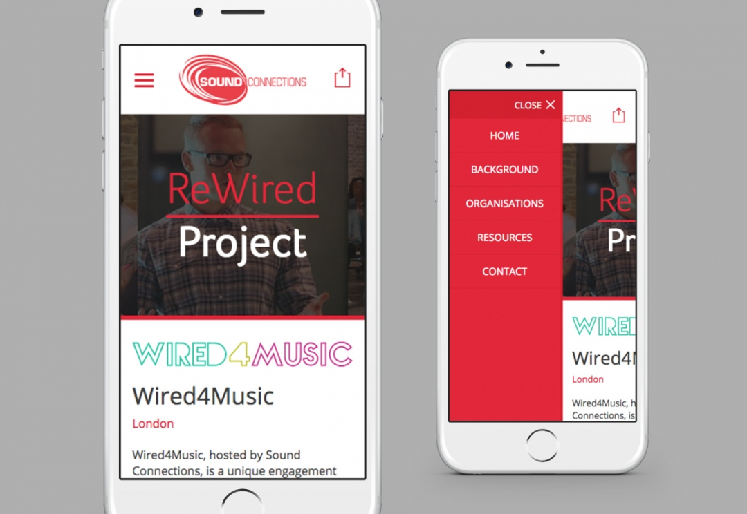 Music organisation charity responsive website design