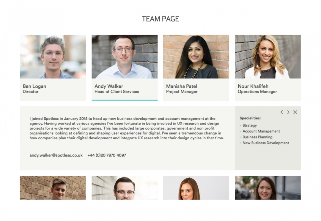 Service design agency website design