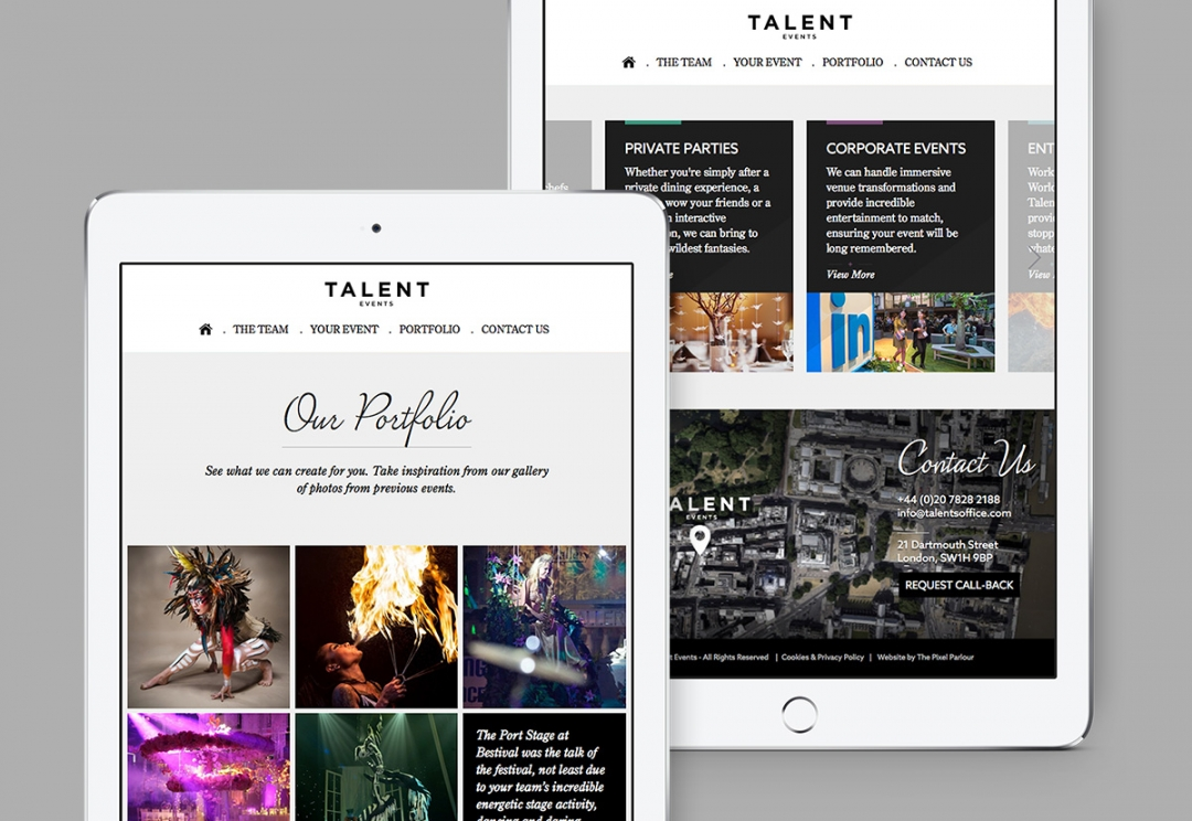 Event organisers website design