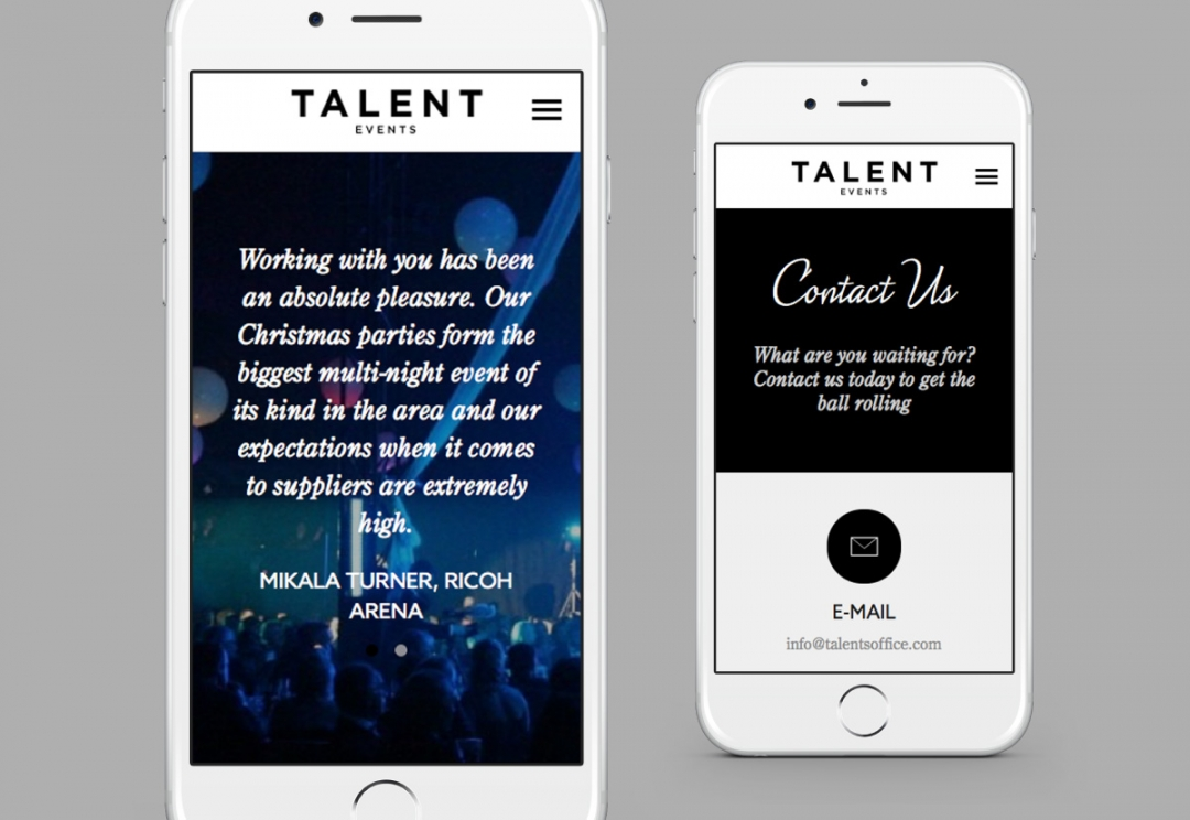 Event organisers responsive website design