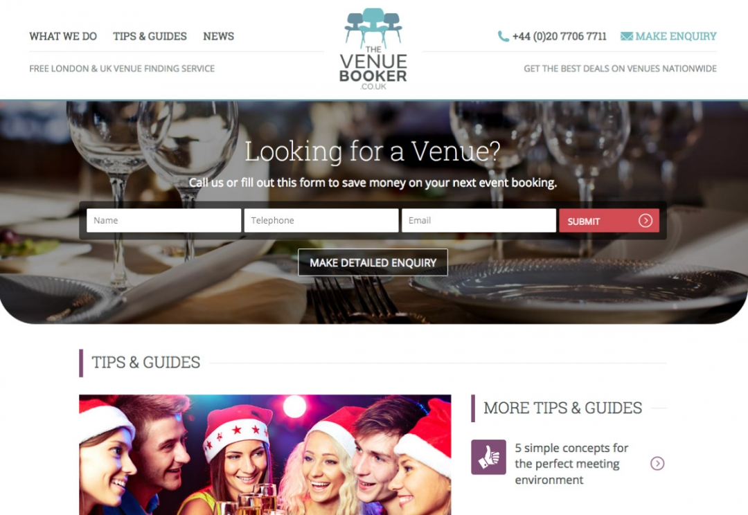 Venue finding service website design