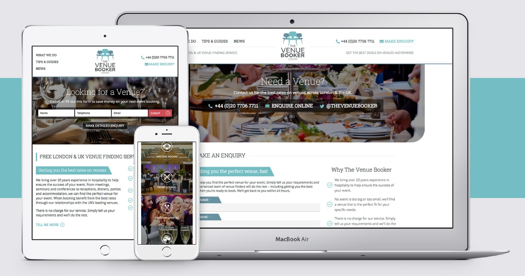 Venue finding service responsive website design