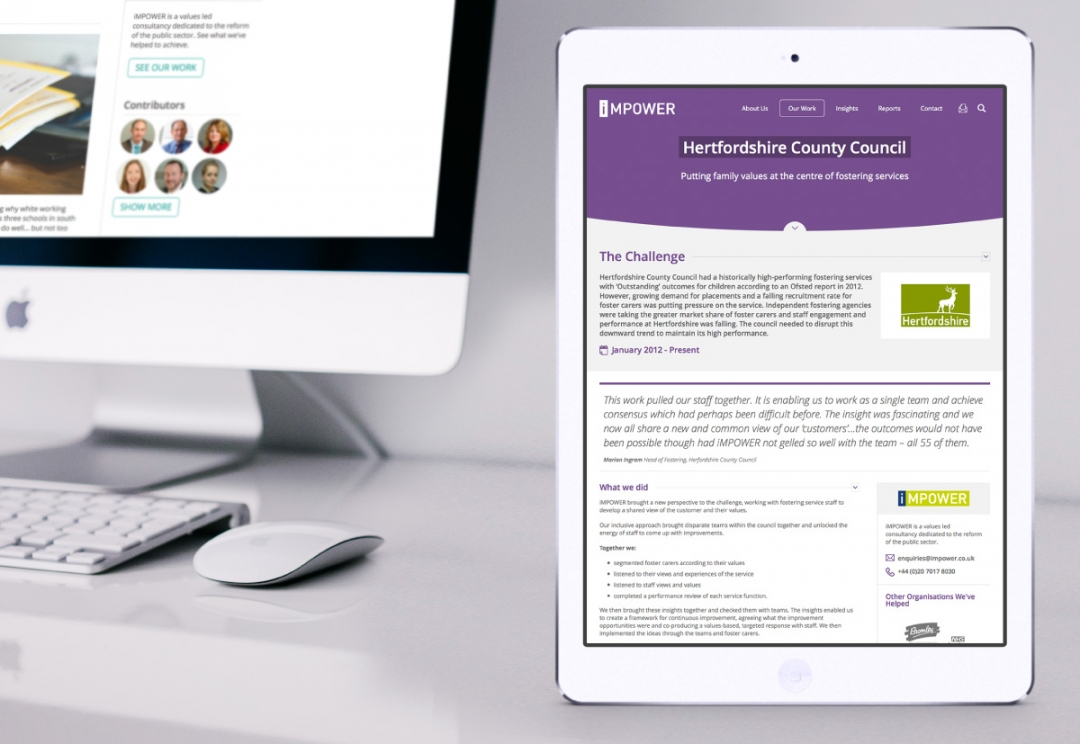 Public sector consultancy website design