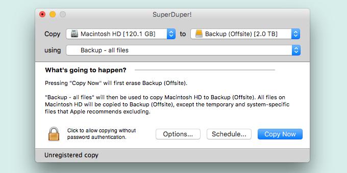SuperDuper backup